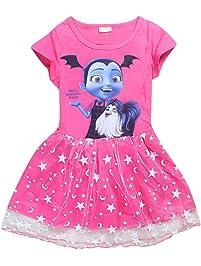 Vannie Vampirina Niña Vestido de Princesa Cosplay Skirt para Fiesta de Halloween Sin Mangas Vestido Fiesta