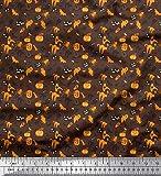 Soimoi Braun Baumwolle Batist Stoff Fledermaus, Spinne &