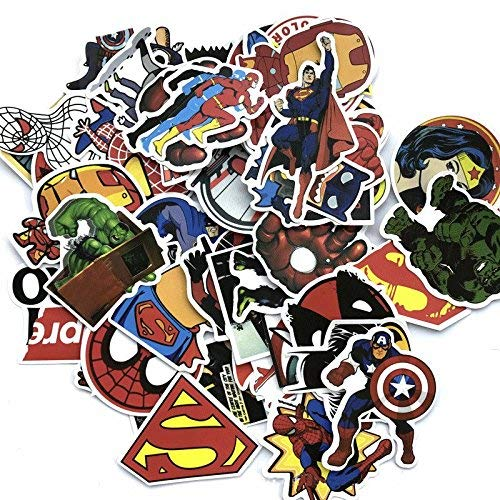 RapidOtz Super Heroes Stickers for Water Bottles and Laptops – 50 Pieces
