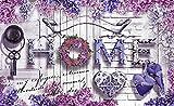 VLIESFOTOTAPETE Fototapete Tapete Wandbild Vlies | Welt-der-Träume| Blumen Home Inschrift | VEXXXL (416cm. x 254cm.) | Photo Wallpaper Mural 10234VEXXXL-AW | Inschrift Text home Hause Weiss Purple Lila Blume
