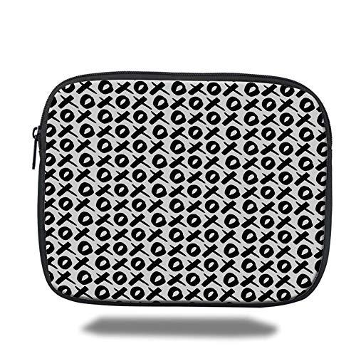 Tablet Bag for Ipad air 2/3/4/mini 9.7 inch,Xo Decor,Expressing Love Affection Good Friendship Text Message Modern Communication Theme Decorative,Black White,3D Print (Xo Kids Tablet)
