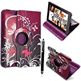 """FOR AMAZON KINDLE FIRE HD 7"""" VARIOUS PU LEATHER WITH SLEEP/WAKE STANDBY MAGNETIC CASE COVER POUCH + STYLUS BY GSDSTYLEYOURMOBILE (Ultra Butterfly Purple)"""