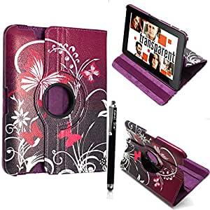 "KAMAL STAR® Amazon Kindle Fire HD 7"" inch PU Leather Flip Sleep/Wake Stand Magnetic Case Cover + Stylus (Ultra Butterfly Purple)"