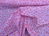 PRESTIGE FABRICS Cute multicoloured dainty floral flowers print poly cotton fabric quilting, patchwork, bunting cotton mix Prestige fabrics - PER METRE (Red/Pink)