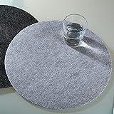Tischset: Platzset: Filz: 2 Stück: 35cm rund: grau: 5mm dick