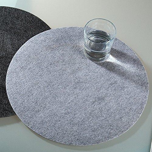 Set di 2 tovagliette in feltro, 35 cm, rotonde, 5 mm di spessore, colore: grigio