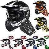 Leopard LEO-X19 *ECE 2205 Genehmigt* Kinder Motocross MX Helm Motorradhelm Crosshelm Kinderquad Off Road Enduro Sport + Handschuhe + Brille - Weiß L (53-54cm)