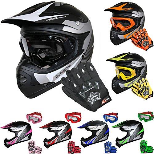 Leopard LEO-X19 *ECE 2205 Genehmigt* Kinder Motocross MX Helm Motorradhelm Crosshelm Kinderquad Off Road Enduro Sport + Handschuhe + Brille - Weiß M (51-52cm)