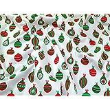 Boules de Noël en polycoton imprimé crème tissu de robe–au mètre