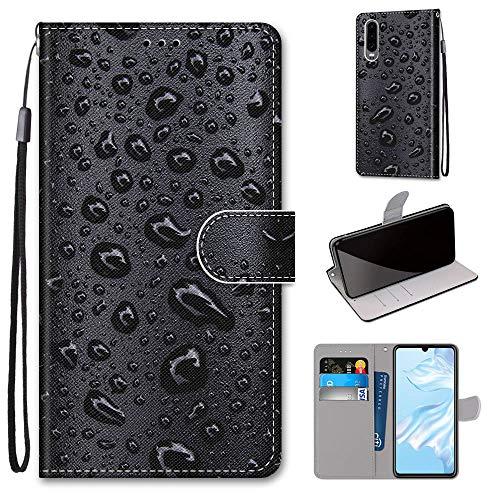Miagon Flip PU Leder Schutzhülle für Huawei P30,Bunt Muster Hülle Brieftasche Case Cover Ständer mit Kartenfächer Trageschlaufe,Wasser Tropfen