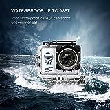 Unterwasser Kamera Digital ActionCamera4k Action Cam 170° Ultra Weitwinkel HD 1080P WiFi Kamera mit Wasserdichtes Gehäuse Batterien und 19 Zubehör für Radfahren Schilaufen Schwimmen, Silber