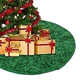 Oceanheart Weihnachtsbaum Rock Plüsch Weihnachtsbaumdecke Weihnachtsbaum Teppich Rund Grün (90cm)