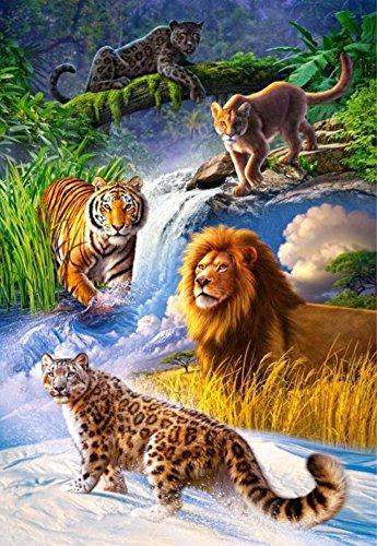 Wowdecor DIY Malen nach Zahlen Kits Geschenk für Erwachsene Kinder, Malen nach Zahlen Home Haus Dekor - Löwe Tiger Leopard Wald Tier Königreich 40 x 50 cm Rahmen -