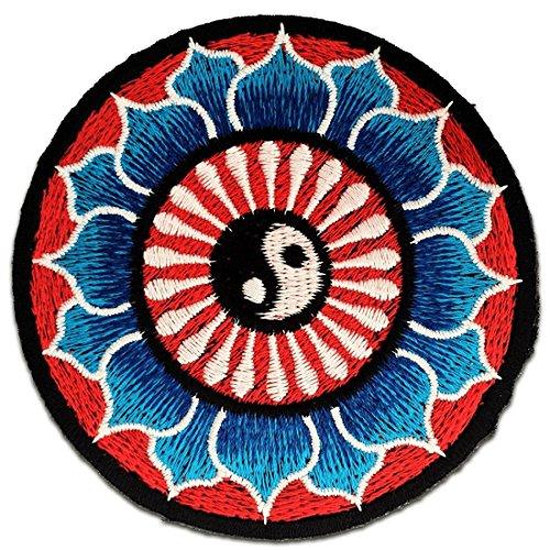 Aufnäher / Bügelbild - Lotus yin Yang spirituell - bunt- Ø8 cm -Patch Aufbügler Applikationen zum aufbügeln Applikation Patches Flicken (Yin-yang-stoff)