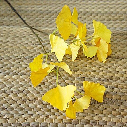 Haisiluo 3Künstliche Ginkgo Blatt Späten Herbst Geschmack Fake Gelb Blume für Home Hochzeit Dekoration