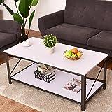 Costway Couchtisch Wohnzimmertisch Salontisch Sofatisch Kaffeetisch Clubtisch Beistelltisch Industriedesign 120x60x50cm Farbwahl (Weiß)