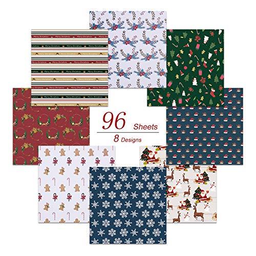 PaperKiddo 96 Packungen Origami Papier Bastelpapier Verschiedene Weihnachtsmuster Hochwertiges Papier für Kinder Kunsthandwerk 20cm * 20cm