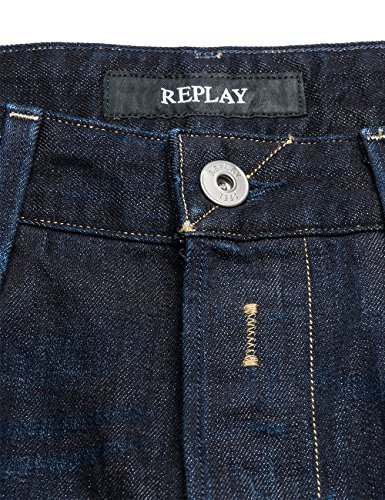 Replay Herren Regular Slim Leg Jeans Waitom Blau (Blue Denim 7)