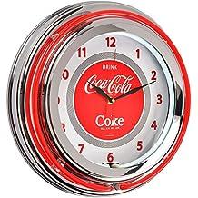Orologio rotonda luminosa Neon Coca-Cola Rosso e Grigio Cromo Metallo e Vetro The Coca-Cola Coke Company 36–1C-005