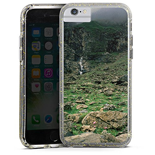Apple iPhone 7 Bumper Hülle Bumper Case Glitzer Hülle Wasserfall Gebirge Felsen Bumper Case Glitzer gold