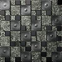 Patrón negro Mosaico de vidrio de acero inoxidable Azulejos de mosaico color mixto acero inoxidable mosaico 300*300mm Cocina backsplash / ducha de pared de la pared de la pared / Hotel pasillo pared de la frontera / piso residencial de piso y aplicaciones de la pared SA073-45 (1 pieza)