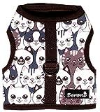 Beroni Katzengeschirr Jacket Brustgeschirr ausbruchsicher No Escape mit Katzenmotiv (Medium)