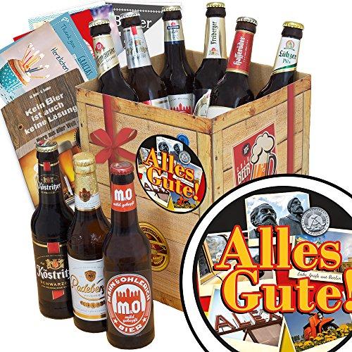 Alles Gute | Bier Geschenkset| DDR Bier Box | Alles Gute | Bier Geschenk | INKL Bierbewertungsbogen, 6 Geschenk Karten + Umschläge, 3 Urkunden