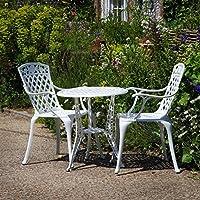 Lazy Susan   IVY Bistrotisch Mit 2 Stühlen   Rundes Gartenmöbel Set Aus  Metall, Weiß