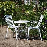 Lazy Susan - IVY Bistrotisch mit 2 Stühlen - Rundes Gartenmöbel Set aus Metall, Weiß (Rose Stühle)