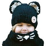 iParaAiluRy Baby M/ütze M/ädchen Jungen Kinder Beanie mit Bommel Winterm/ütze Weichem Fleecefutter Warme Pom Pom Strickm/ütze