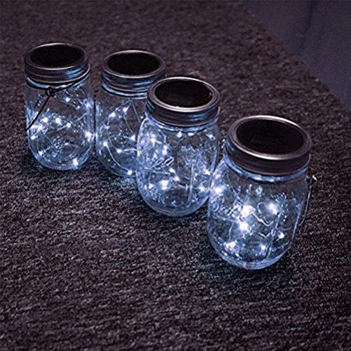 Solar Mason Jar Lichter LEDMOMO Gläser Deckel Licht für Outdoor Garten Baum Party Weihnachtsdekoration (weißes Licht)