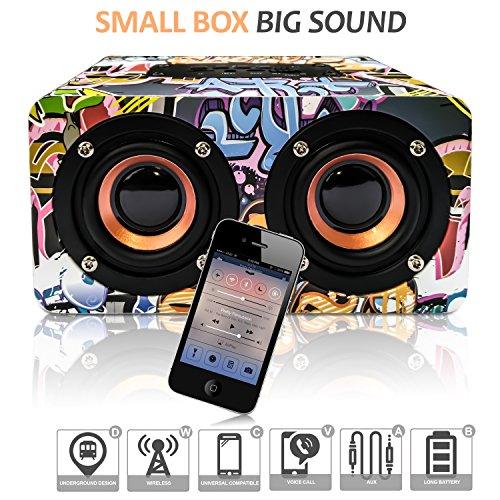 Haut Parleur Bluetooth Enceinte portative USB avec Basse puissante sans Fil Design Street Art baffes Compatible Radio Telephone pc Android/iphone Portable Batterie intégré autonomie Nomade 10w