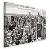 Feeby, Wandbild - 1 Teilig - 80x120 cm, Leinwand Bild Leinwandbilder Bilder Wandbilder Kunstdruck, EMPIRE STATE BUILDING, NEW YORK, ARCHITEKTUR, SCHWARZ-WEIß