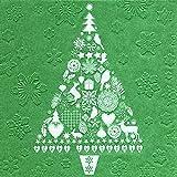 """32 almuerzos de servilletas de papel en forma de árbol de navidad de colour verde (preciados """" my Xmas tree De colour verde """") 1/4 plegado, 3-capas, en forma de tamaño abierta: 33 x 33"""