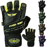 C.P.Sports Power-Wrist Handschuh, Fitness Handschuhe, Trainingshandschuh, Gewichtheben mit stabiler Bandage (Schwarz, L = 20-22cm)