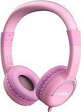 【Verbesserte Version】Mpow Kopfhörer Kinder, Kopfhörer für Kinder mit Lautstärke- und Mikrofonsteuerung, Kinderkopfhörer mit 85dB Lautstärke Begrenzung Gehörschutz und Musik-Sharing, Material in sicherer Lebensmittelqualität, 3,5mm Audiobuchse, Rosa