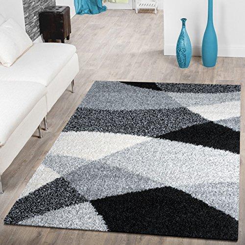 Moderner Hochflor Teppich Shaggy Vigo Gemustert in Schwarz Grau Weiß Top Preis!!