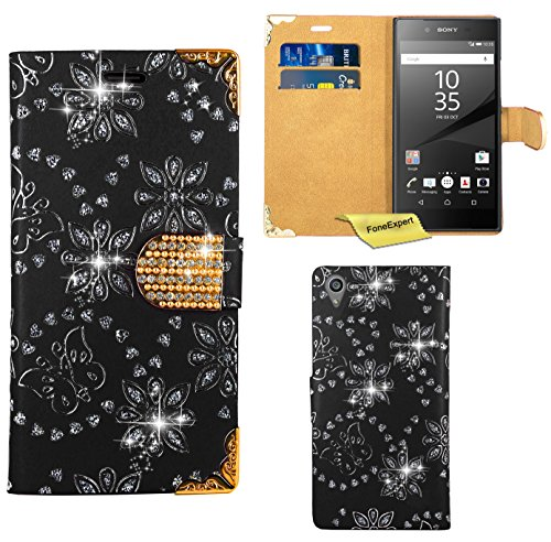 Preisvergleich Produktbild Sony Xperia Z5 Handy Tasche, FoneExpert® Bling Luxus Diamant Hülle Wallet Case Cover Hüllen Etui Ledertasche Premium Lederhülle Schutzhülle für Sony Xperia Z5 (Schwarz)
