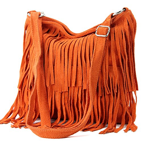 ital Schultertasche Fransen Wildleder, Farbe:Orange ()
