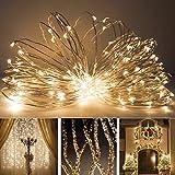 Eonfine stringa solare illumina su filo di rame flessibile 72ft 150 LED per esterno leggiadramente solari String Lights Ambiance illuminazione per giardini, case, festa di Natale-2 Modalità (steady on / flash) bianco caldo