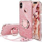 OCYCLONE iPhone X Hülle, iPhone XS Glitzer Handy Hülle mit Ring 360 Grad Ständer, Bling Diamant Dünne Sparkly Schützhülle für Mädchen Frauen iPhone X/iPhone XS Hülle - Rose Gold