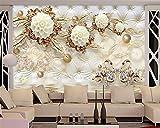 ShAH Custom Wallpaper 3D Luxus Gold Weiße Blumen Weiche Tasche Ball Schmuck Wandbilder Wohnzimmer Tv Hintergrund 3D Fototapete 3D Tapete Hintergrundbild Wallpaper Wandmalerei Fresko Mural 300cmX200cm