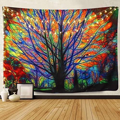 Amknn Bunter Baum Psychedelic Tapisserie Bohemian Mandala Hippie Tapisserie Bunt Baum Wandteppich für Psychedelic Forest Birds Wand Schlafzimmer Wohnzimmer Decor (203x153cm, Bunter Baum)
