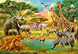Fototapete Kinder AFRICAN ANIMALS 366 x 254cm Tiere Löwe Giraffe Zebra Elefant