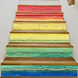 Longwei Treppen Selbstklebende Tapete Farbe Holzbrett Dekoration 3D Abnehmbare DIY Schritt Aufkleber Moderne HD Wasserdichte Treppe Tapeten kaufen Drei Eins Kostenlos