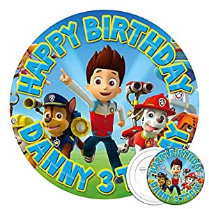 Paw Patrol comestibles Décoration de gâteau 19 cm - 5,8 & Badge à épingle d'anniversaire à personnaliser avec IMAGE haute résolution de
