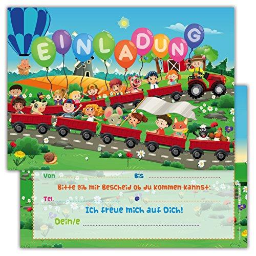 Einladungskarten für Kindergeburtstage für Jungen oder Mädchen (Zug, 12 Stück im Kartenset)