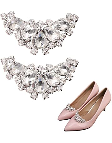 868bd7844d719 Womdee Rhinestone Shoe Clips for Women Flats Heels Bows, Removable Dress  Hat Accessories Fashion Shoe