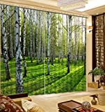 Wapel Lebensechte Green Forest 3D Druck Vorhänge Schöne Vorhänge Voller Schatten Schlafzimmer Wohnzimmer Vorhänge H215 * W320cm