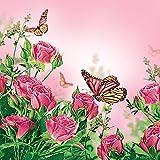 Servilletas 33 x 33 cm decoupage Rosas de colour rosa y mariposa rosa
